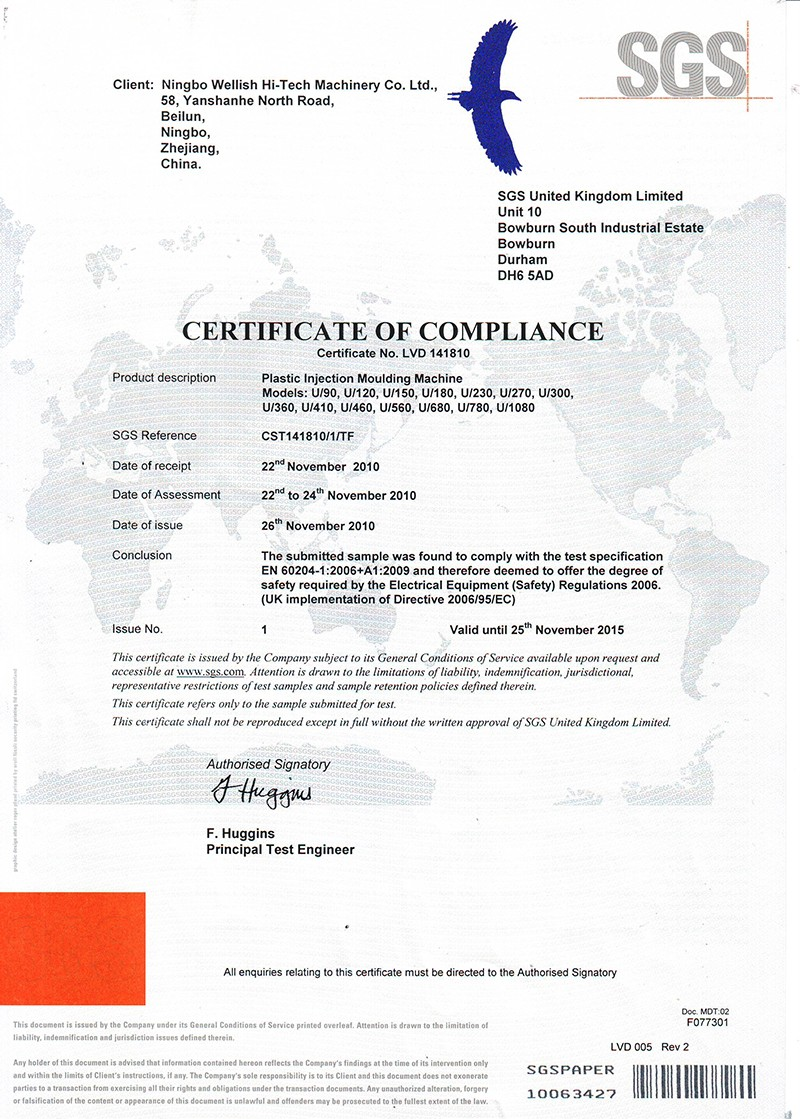 Injection molding machine certificate ce2